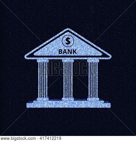 Bank Building On Dark Blue Background.vector Illustration.flat Design Style.