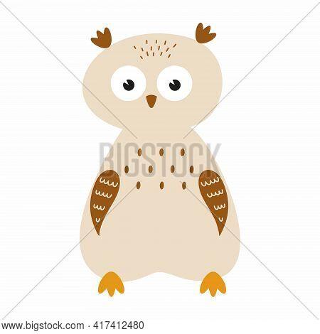 Cute Grey Owl For A Children's Book. Funny Sad Owl.