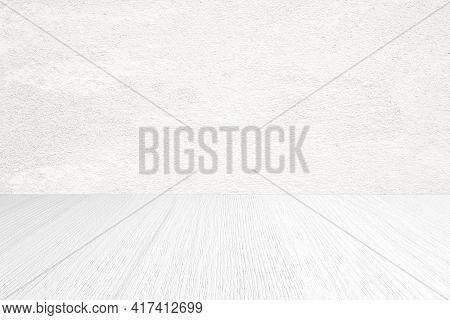Empty White Cement Wall And Wood Floor Background For Product Display Montage, White Concrete And Wo