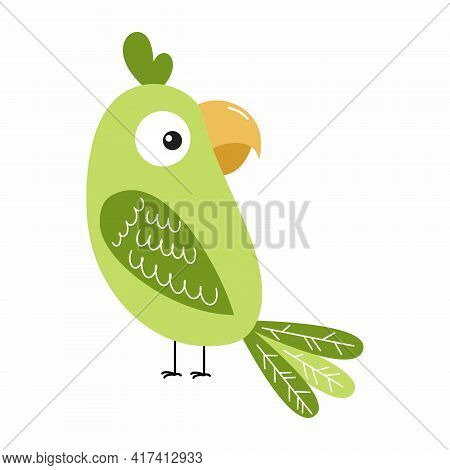 A Funny Parrot For A Children's Book. A Cartoon-style Parrot.