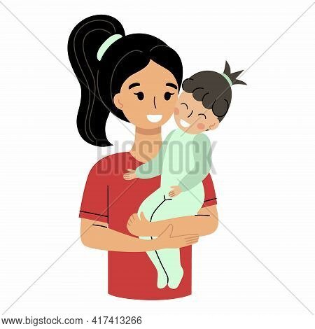 A Mother Holds A Baby In Her Arms. Mother And Daughter. Motherhood And Parenting.