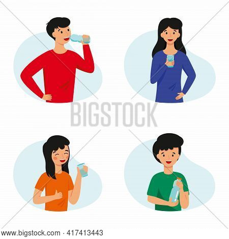 A Set Of Illustrations With People Who Drink Water. The Family Practices Healthy Habits.