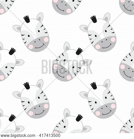 Seamless Pattern With Cute Zebras. Zebra Wallpaper For Printing On Textiles And Packaging Paper.