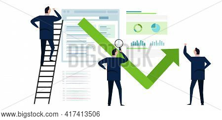 Bounce Rate Analyst Looking Reviewing Number Of Visitor Leave Website Bouncing Away Symbol