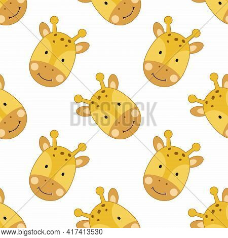 Seamless Background With Cute Giraffe For Printing On Fabric And Textiles. Wallpaper With A Children