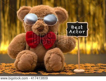 Cute Teddy Bear With Red Bow And Sunglasses. Little Chalkboard With