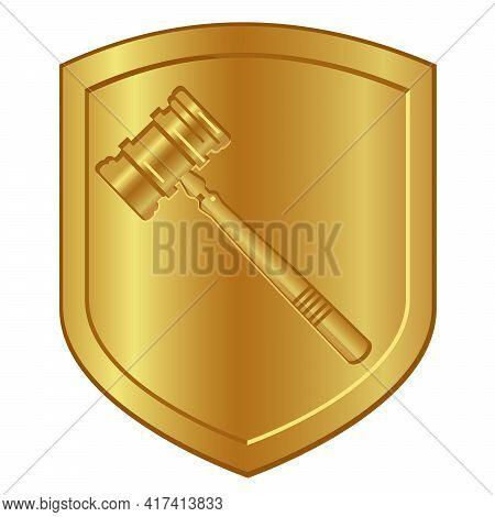Gold Hammer Symbol Logo In Golden Shield Lawyer Or Auction Gavel