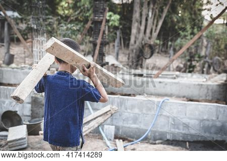 The Concept Of Child Labor, Poor Children Are Forced To Work In Construction, Violence Children And