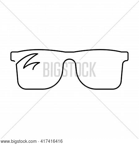 Continuous Single Drawn One Line Drawing Of Isolated Vector Object Eye Glasses. Sunglasses And Summe