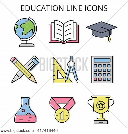 Science And Education. Color Vector Icons In Flat Style