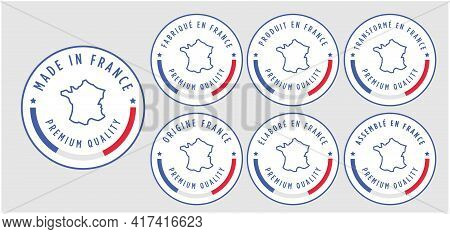 Set Badge Logotype Of Made In France Badge With Ribbon And Flag On White Background, Modern Color Sy