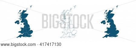 United Kingdom Countries And Ireland Political Map. England, Scotland, Wales, Northern Ireland, Guer