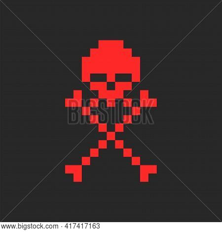 Skull And Crossbones Symbol Of Jolly Roger Logo In Pixel Style, Kids Print On Clothes Or Youth Red S