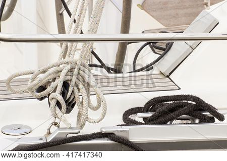 Yachting Concept, Coiled Rope On Sailboat, Details And Parts Of Yacht