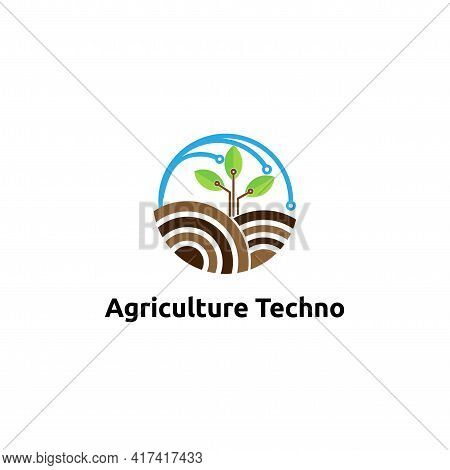 Agriculture Techno Logo Vector Concept, Icon, Element, And Template For Company