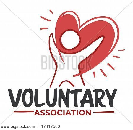Voluntary Association, Label With Person And Heart