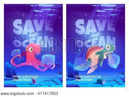 Save Ocean Cartoon Posters With Underwater Animals And Trash In Sea. Water Pollution With Plastic Ec