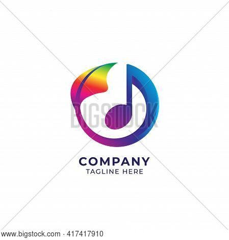 Vector Illustration Of Circular Musical Note With Rainbow Leaf. Seed Sprout, Growth, Growing, Harmon