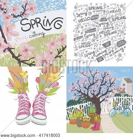 Spring Seasonal Blooming, Sakura And Flora Decor