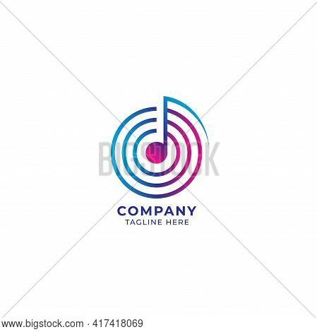 Colorful Musical Note With Concentric Circles Vector Illustration. Music And Energy Logo Design Temp