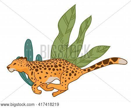 Speedy Cheetah Or Leopard Running Along Bushes