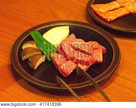 Takayama City, Japan - April 9, 2014: Famous And Sizzling Yakiniku In Takayama Japan - Premium A5 Hi