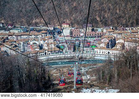 Sochi, Russia - March 31, 2021: Krasnaya Polyana Resort. View From Gondola Lifts To The Mountain