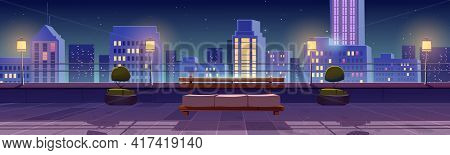 Terrace On Rooftop With City View At Night. Patio On Roof Or Balcony With Sofa, Plants, Lamps And Ra