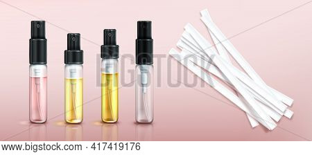 Perfume Tester Glass Bottles And Paper Strips. Fragrance Sample In Transparent Tubes With Black Spra