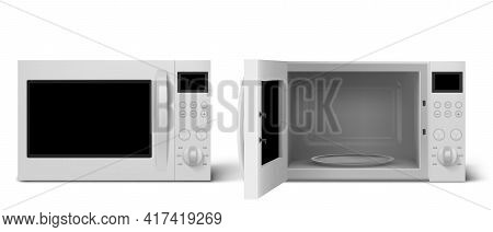 Modern Microwave Oven With Open And Closed Door. Kitchen Electric Appliance For Cooking And Defrost