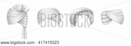 Turbans, Indian And Arab Headdress For Man And Woman. Vector Realistic Set Of Blank Winding Headscar