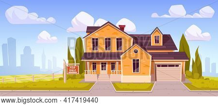 Suburban House With Sign For Sale. Residential Cottage From Yellow Brick With Garage With Cityscape