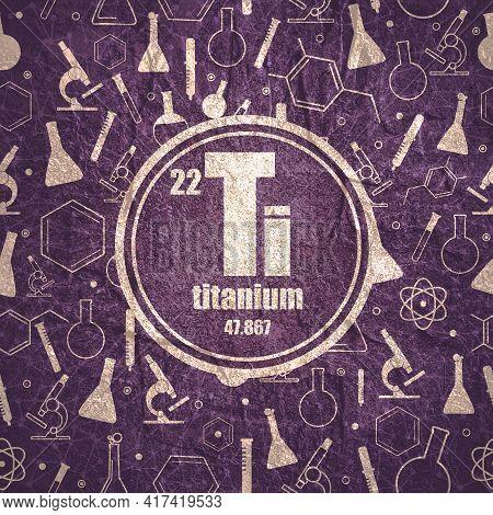 Titanium Chemical Element. Stone Material Grunge Texture