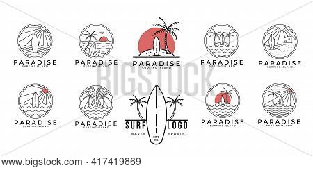 Set / Bundle Paradise Surf Logo Line Art Vector Illustration Design, Paradise Beach Logo Design.