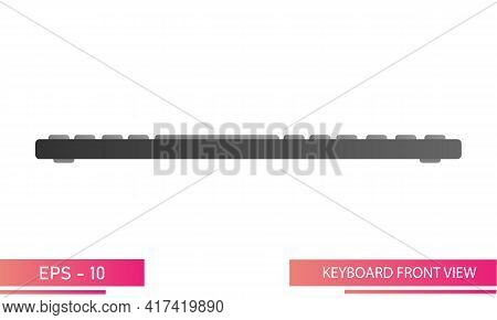 Dark Keyboard In Gradient Design, Front View. Realistic Design. On A White Background. Devices For T