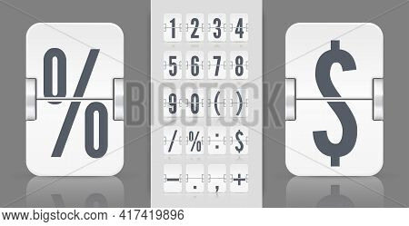 Flip Numbers Font Time Counter Information Page. White Analog Countdown Font. Vintage Symbols Time M