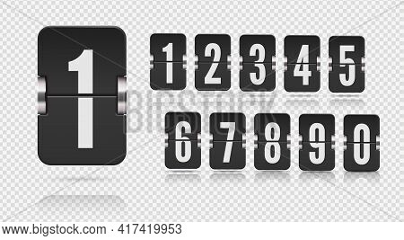Set Of Flip Scoreboard Numbers With Reflections Floating On Different Heights. Vector Template On Tr