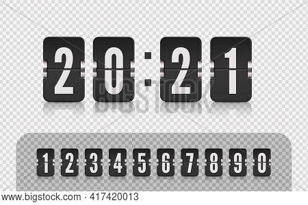 Scoreboard Number Font. Retro Design Score Board Clock Template. Vector Modern Ui Design Of Old Time