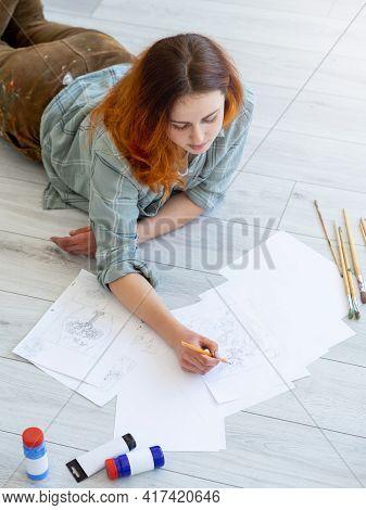 Painting Art. Creative Hobby. Relaxing Home Leisure. Inspired Female Artist Enjoying Drawing Sketch