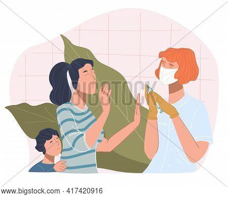 Woman And Kid Refusing To Take Coronavirus Vaccine