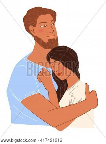 Bearded Man And Woman In Love, Couple Cuddling