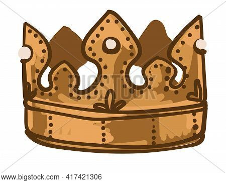 Golden Crown For King Or Queen, Royalty Symbol