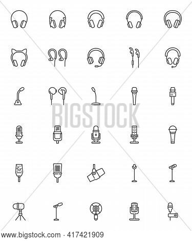 Headphones And Microphone Line Icons Set. Linear Style Symbols Collection, Outline Signs Pack. Audio