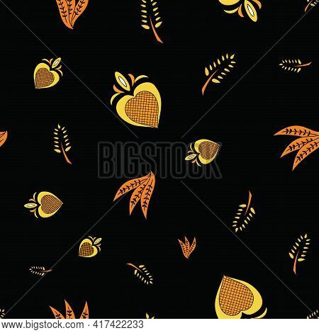 Vector Black Background Brittany Celtic, Breton Trational Folklore Symbols Seamless Pattern. Seamles