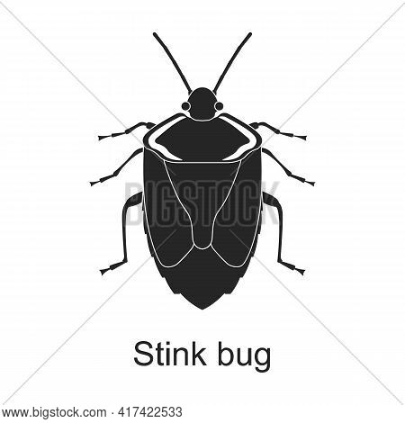Stink Bug Vector Black Icon. Vector Illustration Pest Insect Stink Bug On White Background. Isolated