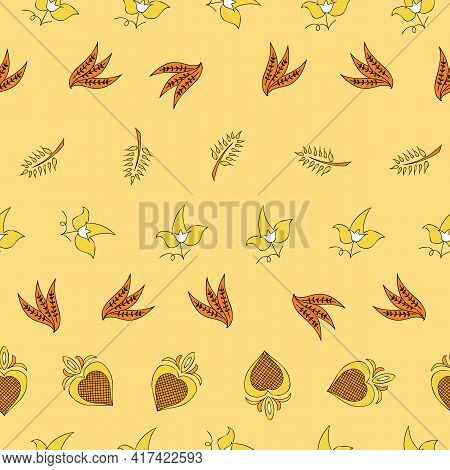 Vector Beige Background Brittany Celtic, Breton Trational Folklore Symbols Seamless Pattern. Seamles