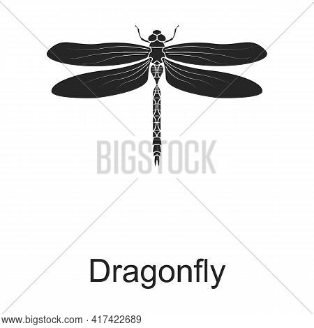 Dragonfly Vector Black Icon. Vector Illustration Pest Insec Dragonfly On White Background. Isolated