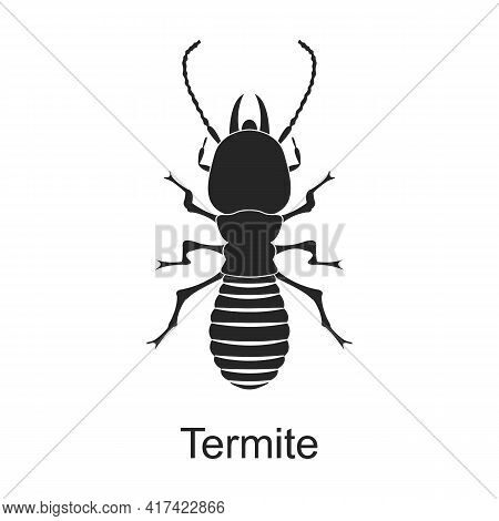 Termite Vector Black Icon. Vector Illustration Pest Insect Termite On White Background. Isolated Bla