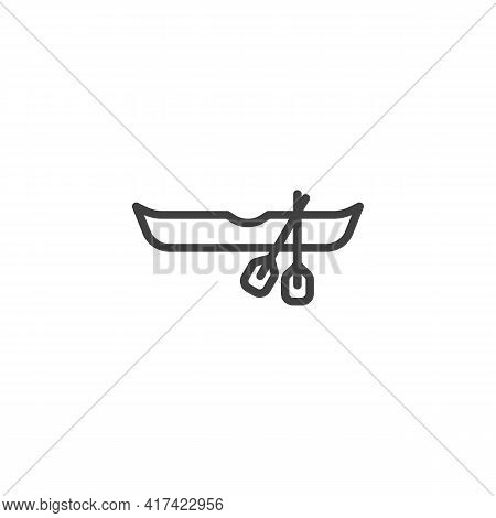 Rowboat And Oars Line Icon. Linear Style Sign For Mobile Concept And Web Design. Rowing Boat With Pa