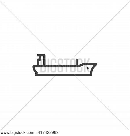 Barge Boat Line Icon. Linear Style Sign For Mobile Concept And Web Design. Cargo Ship Boat Outline V